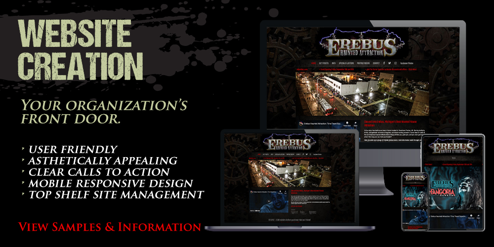 BDG front page services ads - website creation
